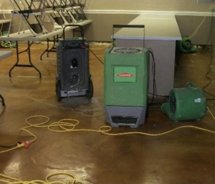 SERVPRO drying equipment setup to dry the church